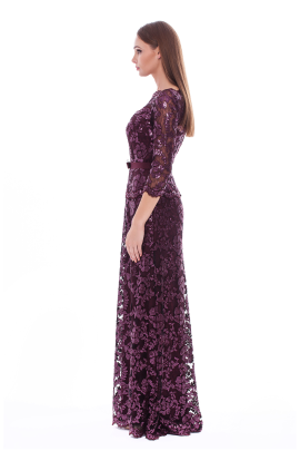 Long Auburn Paillette Dress-1