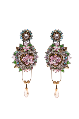 Faberge Pink Flower Earrings -0