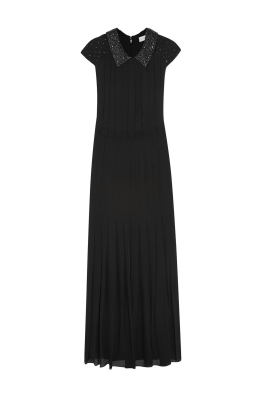 Pleated Silk- Crepe Gown-0
