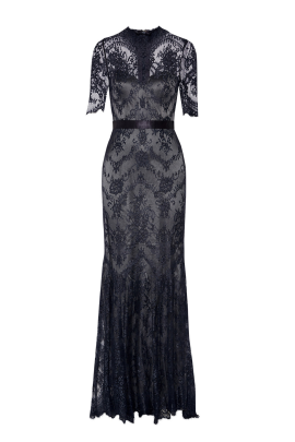 * Silk-trimmed Lace Gown -0