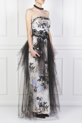 Floral Faille and Tulle Gown-2