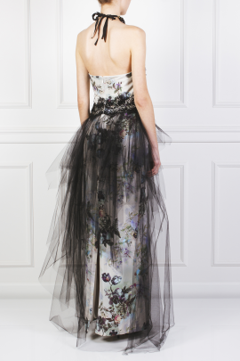 Floral Faille and Tulle Gown-3