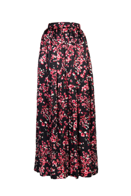 Black Poppies Maxi Skirt-0