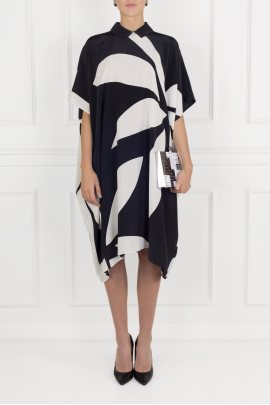 Printed Silk Crepe Dress-1