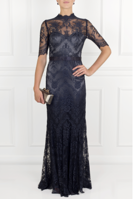 * Silk-trimmed Lace Gown -1