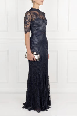 * Silk-trimmed Lace Gown -2