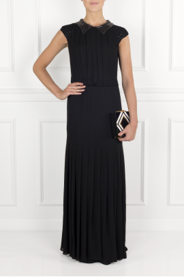 Pleated Silk- Crepe Gown-1
