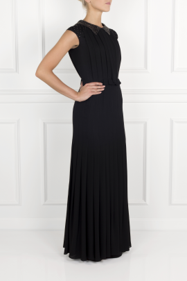 Pleated Silk- Crepe Gown-2