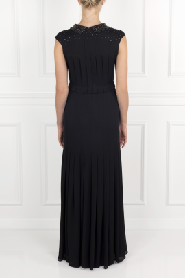 Pleated Silk- Crepe Gown-3