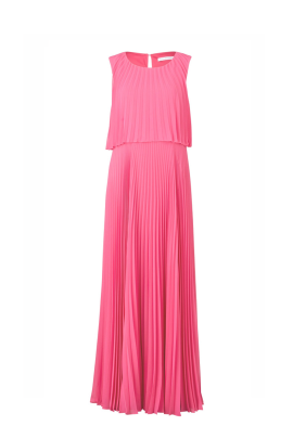 Pink Pleated Chiffon Gown -0
