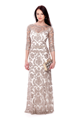 Long Sand Embroidered Dress-0