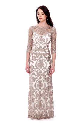 Long Sand Embroidered Dress-1