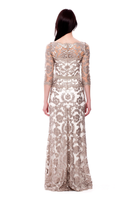 Long Sand Embroidered Dress -3