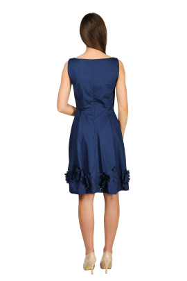 Navy Dress With cuted Flowers-2