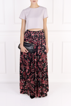 Black Poppies Maxi Skirt-1