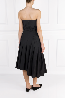 Strapless Poplin Midi Dress-3
