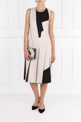 Two-tone Wool-crepe Dress-1