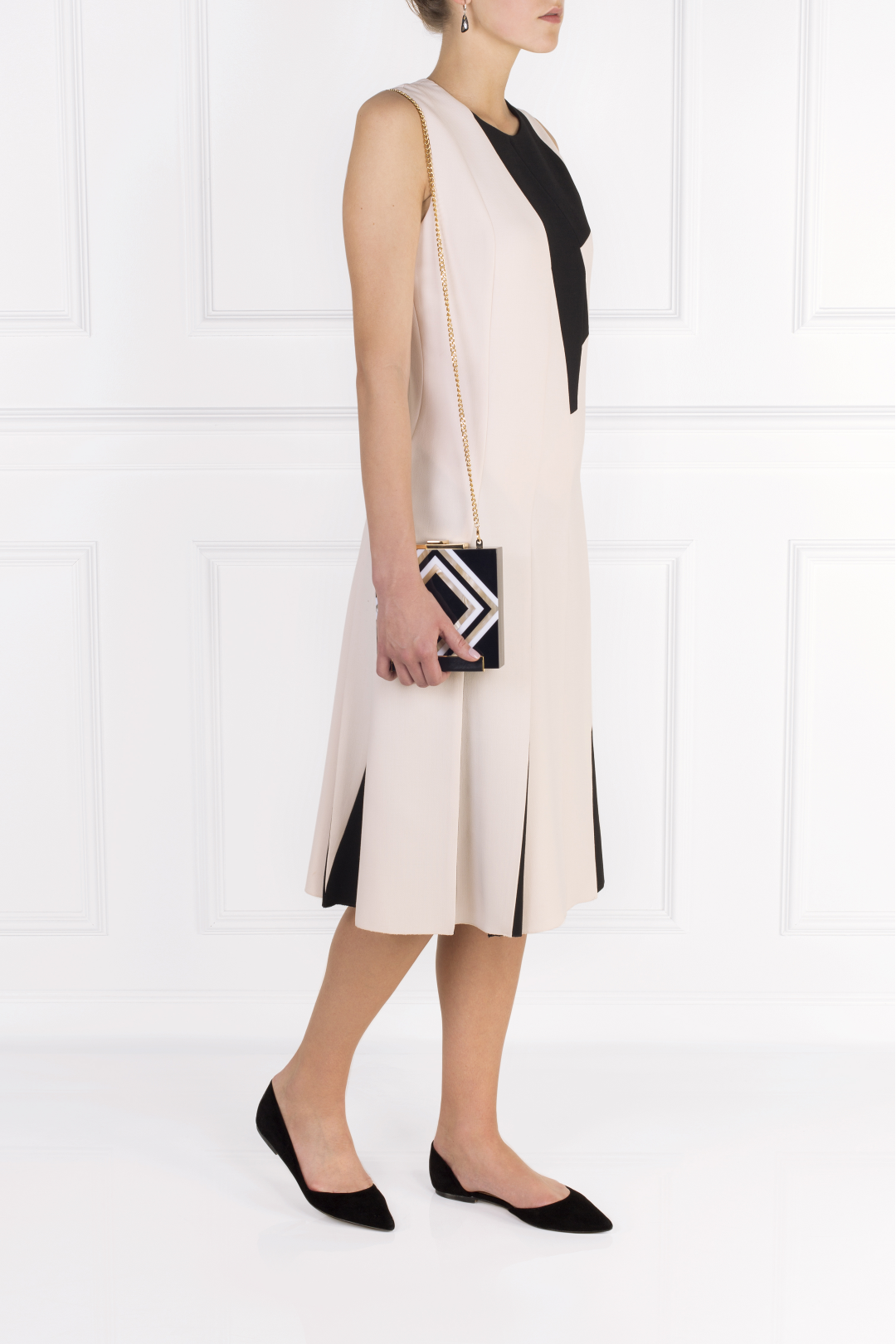Two-tone Wool-crepe Dress