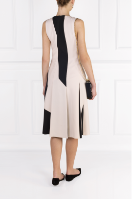 Two-tone Wool-crepe Dress-3