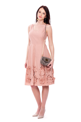 Flower Cutting Midi Dress -3