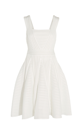 White Striped Mesh Dress -0