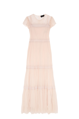 Cream Crinkled-chiffon Gown-0
