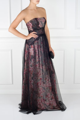Floral-print Tulle Gown-2