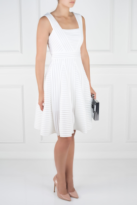 White Striped Mesh Dress -2