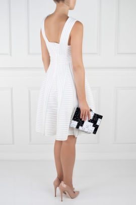 White Striped Mesh Dress-3